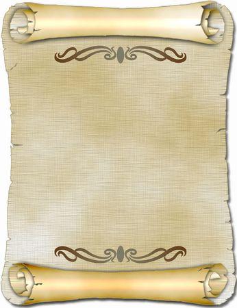 Ancient scroll with ornament 版權商用圖片