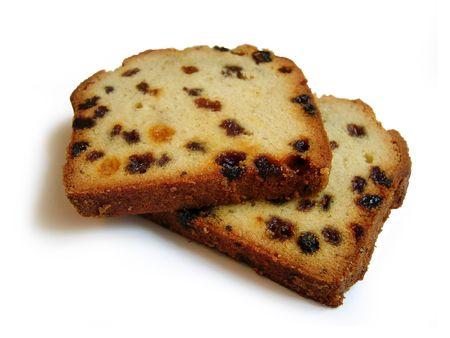Two pieces of fruitcake Stock Photo