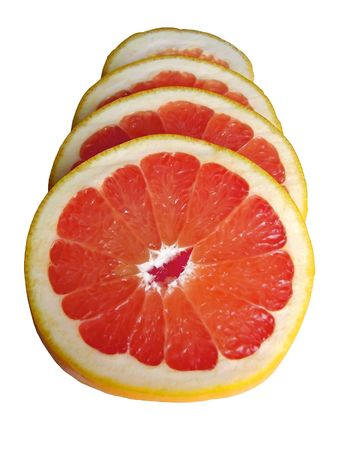 Sliced juicy grapefruit isolated on white