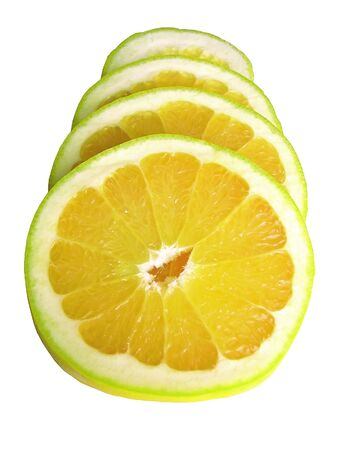 Sliced juicy lenom isolated on white