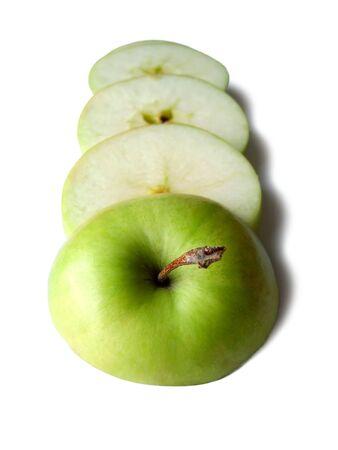 Sliced green apple on white background Stock Photo