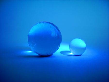 Two blue glass balls Stock Photo