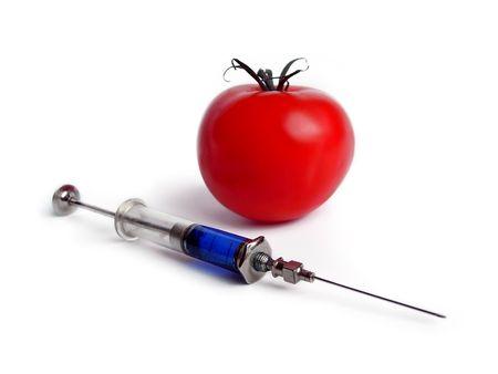 Tomato and syringe isolated on white stock photo