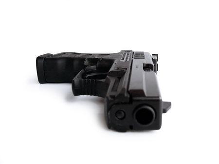 Pneumatic gun isolated on white  版權商用圖片