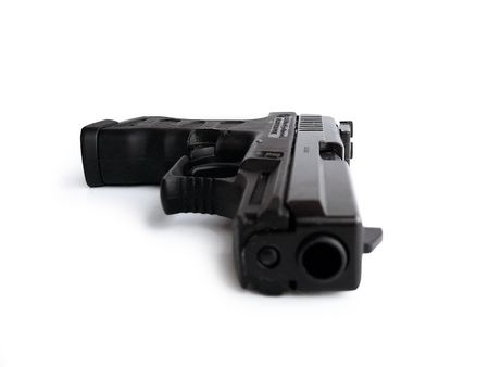 Pneumatic gun isolated on white  Stock Photo