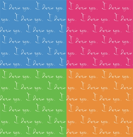 Seamless pattern - I love you text  Vector