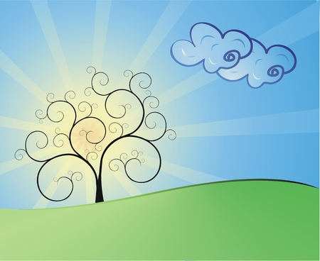 Vector landscape with tree and clouds Illustration