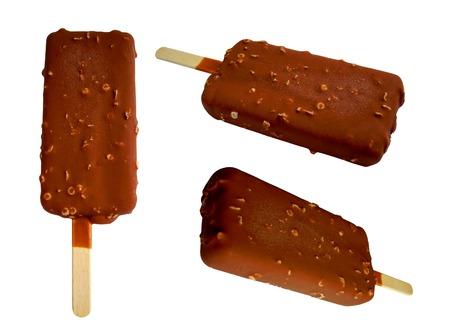 Chocolate ice cream set isolated on white