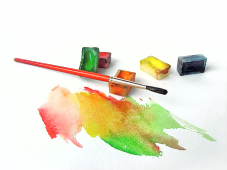 Water colors and brush Stock Photo