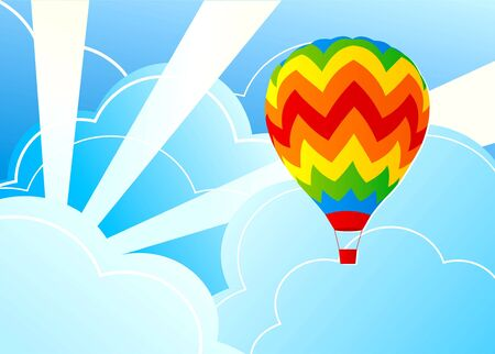 Illustration wits air  balloon and blue sky illustration