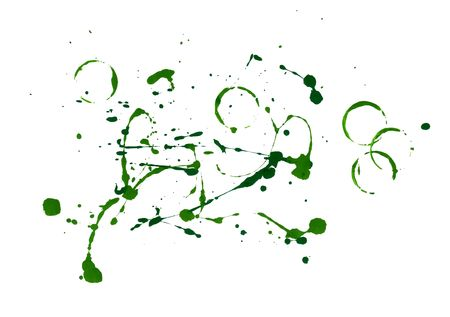 Green paint splatters on white background