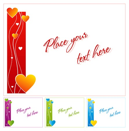 Vector greeting card with hearts in four color variations Vector