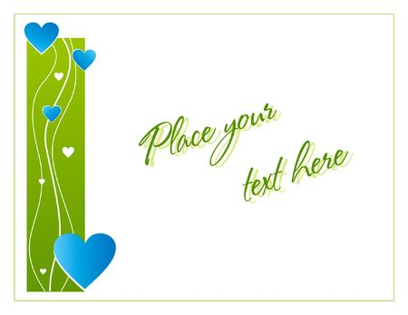 Green greeting card with hearts for St. Valentines day photo