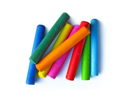 oil pastels: Oil crayons isolated on white