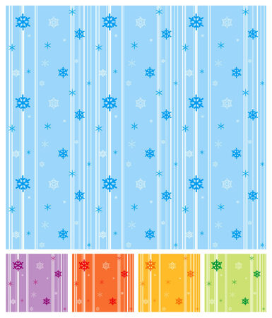 Seamless vector patterns with snowflakes. Four color variations. Stock Vector - 2202387