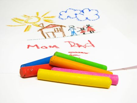 Oil crayons and children's drawing on background Stock Photo - 2221932