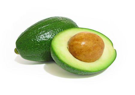 Fresh avocados isolated on white background