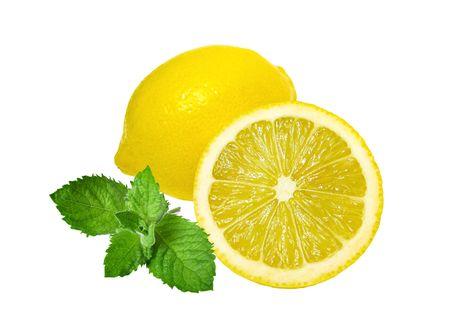 Lemons and mint isolated on white background