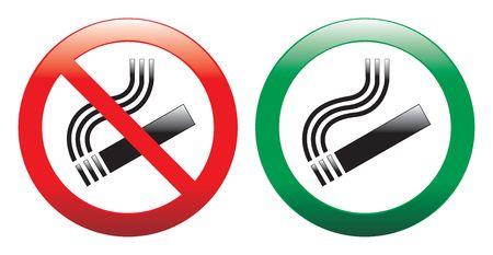 exclusion: No smoking and smoking area signs