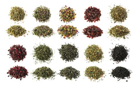 Black, green and herbal teas set isolated Stock Photo