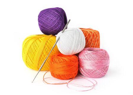 Hobby - crochet tools isolated on white background photo