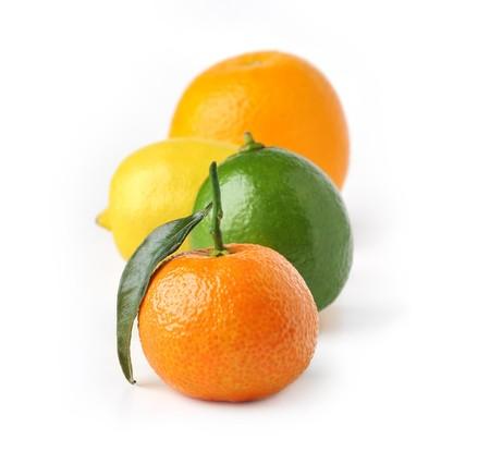 Tangerine, lemon, lime and orange isolated on white background photo