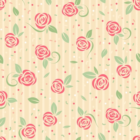Seamless pattern with stylized roses Vector