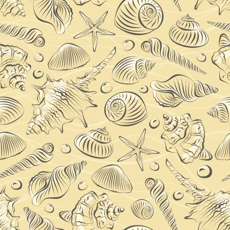 sea shells: Seamless pattern with different sea shells