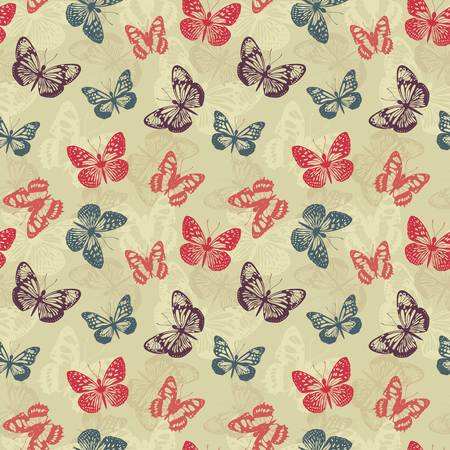 Seamless pattern with butterflies Stock Vector - 17006130