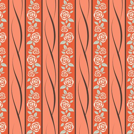 Seamless pattern with pastel roses over orange background Vector