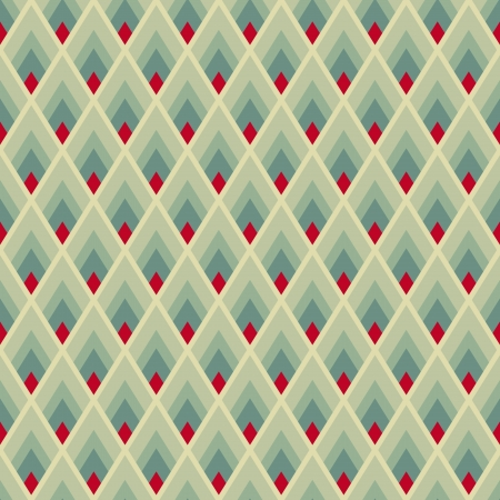 Geometric seamless pattern with green and red lozenges