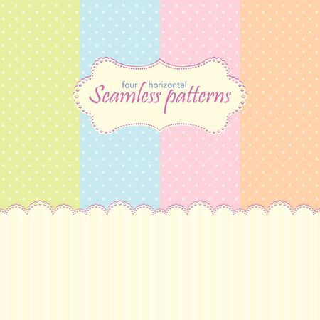 Horizontal seamless  patterns in pastel colors Vector