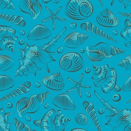 Seamless pattern with different sea shells Vector