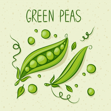 peas in a pod: Green Peas with text above. Vector illustration