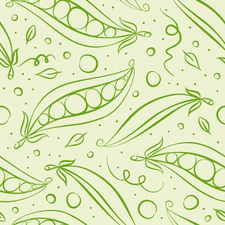 Green peas seamless pattern. Vector illustration Vector