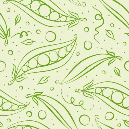 Green peas seamless pattern. Vector illustration 向量圖像