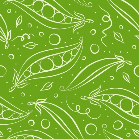 Green peas seamless pattern.  Vector