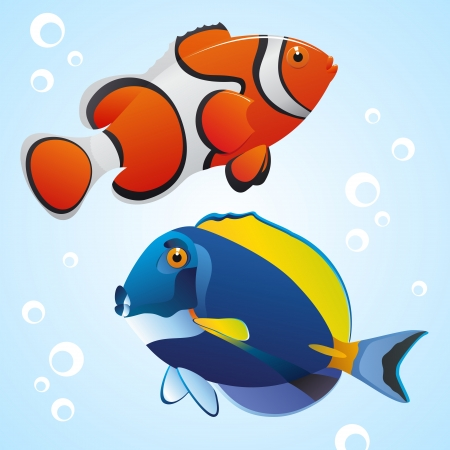 Two tropic fishes  Vector EPS8 illustration