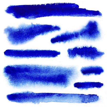 brush strokes: Blue watercolor paint strokes on white background