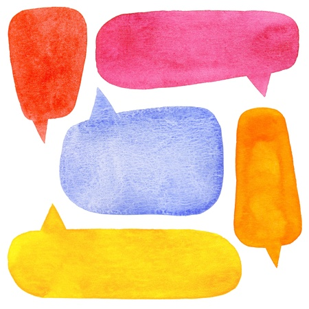 Set of watercolor speech bubbles Stock Photo