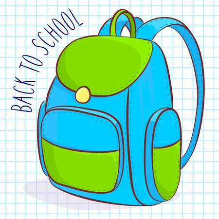 Vector illustration of blue and green school bag Vector