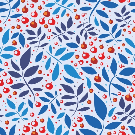 Seamless pattern with leaves and berries Illustration