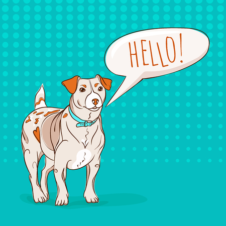 russel: Cute Jack Russel Terrier dog saying HELLO to you. Cartoon style vector EPS8 illustration