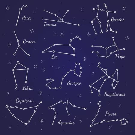 costellazioni: costellazioni zodiacali. segni vettoriale su sfondo blu scuro Vettoriali