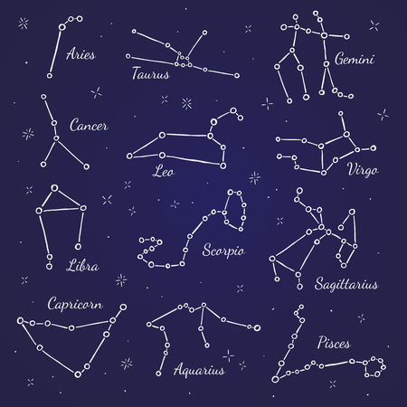 constellations: Zodiacal constellations. Vector signs on dark blue background