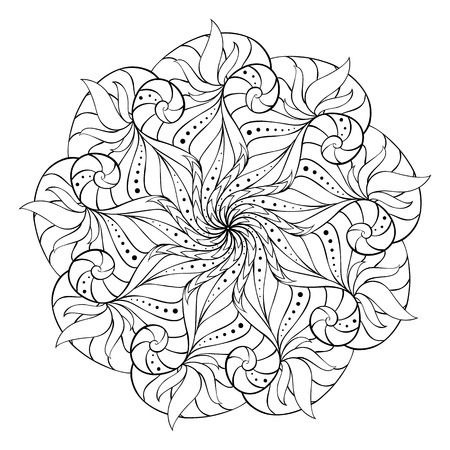 anti stress: Coloring book for adults. Round floral mandala element. Anti stress and relaxation Illustration