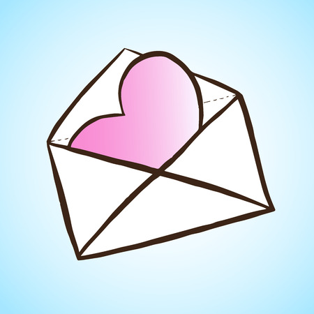 textual: Opened letter with heart. Hand drawn vector illustration. Concept of sms, spam, writing, postcard, salutation, chatting, mailbox, textual talking, checking email