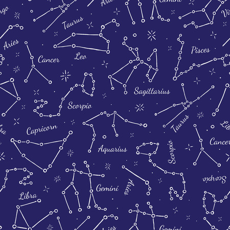 constellations: Zodiacal constellations seamless pattern background. Vector illustration Illustration