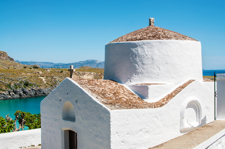 View on typical greek Church in Rhodes Island, Greece. Stock Photo