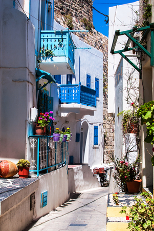 Colorful street in Lindos Stock Photo